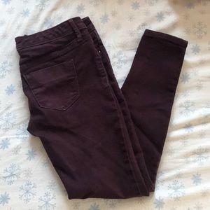 Denim - Burgundy skinny jeans
